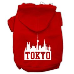 Tokyo Skyline Screen Print Pet Hoodies Red Size Med (12)