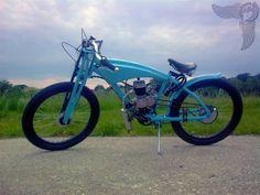 handmade bicycle with nsu fork and engine kit 2 European Motorcycles, Racing Motorcycles, Vintage Motorcycles, Custom Motorcycles, Custom Bikes, Motorcycle Gear, Moped Motor, Bicycle Engine Kit, Motorised Bike