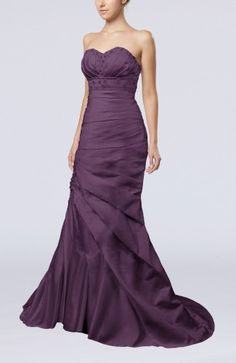 Plum Bridal Gown - Modern Hall Trumpet Lace up Satin Court Train Long Sequin