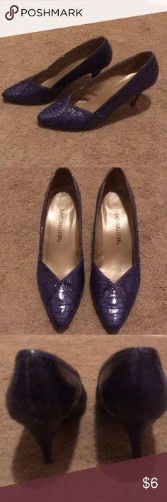 BLUE HEELS Blue snake skin like material heels- have been worn and have a few worn marks on back and heels along with inside worn marks too - 3?inch heel. Naturalizer Shoes Heels