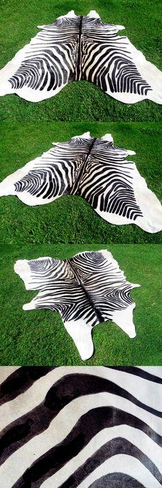 Leather Fur and Sheepskin Rugs 91421: Black White Beige Zebra Print Printed Cowhide Skin Rug Steer Cow Hide - Dc5319 -> BUY IT NOW ONLY: $217 on eBay!