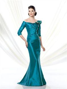 2014 Mermaid Half Sleeves Zipper Satin Mother Of The Bridal Dress AMT0016
