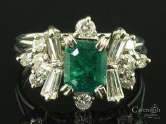 Amazing White Gold, Emerald & Diamond Fancy Cluster Ring Thumbnail 1