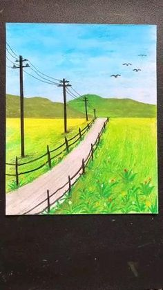 Oil Pastel Drawings Easy, Oil Pastel Art, Oil Pastels, Art Drawings Beautiful, Art Drawings Sketches Simple, Crayon Drawings, Art Painting Gallery, Diy Canvas Art, Spring Painting