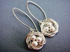 Silver Baby Bird Nest Earrings- handmade sterling silver earwires, mom, mother's day, baby shower gift, customizable