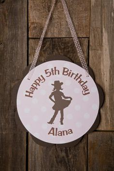 Cowgirl Door Sign Birthday Party - Pink & Brown
