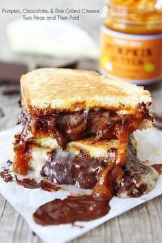 Pumpkin, Chocolate, and Brie Grilled Cheese Sandwich Recipe on http://twopeasandtheirpod.com This sandwich is AMAZING! #pumpkin