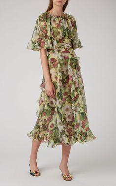 Click product to zoom Dress Hats, Dress Up, Kpop Outfits, Fashion Outfits, Beautiful Maxi Dresses, Silk Midi Dress, Floral Chiffon, Silk Chiffon, African Print Dresses