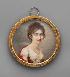Miniature of a lady in a red shawl, possibly Aniela Radziwiłłówna by François-Joseph Desvernois, 1810, Muzeum Narodowe w Warszawie (MNW)