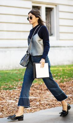 Live somewhere like L.A.? This look is ideal—a lightweight sweater (with a tank on top for a forward vibe), cropped flares, and flats.