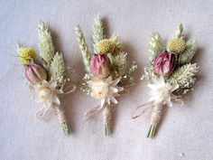 Spring dried boutonnieres set 6 groomsman by FlowerDecoupage