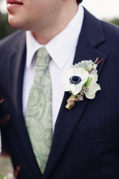 white anemone boutonniere - Dripping Springs wedding at Vista West Ranch by Forever Photography Studio