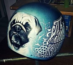 helmet pug airbrush paint art