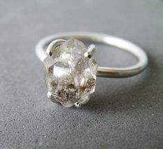 Herkimer Diamond Ring Sterling Silver Stacking Rough Quartz Engagement By Steamylab