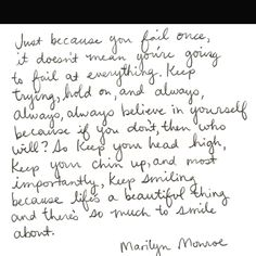 I have no idea if Marilyn actually wrote this, but I love the meaning behind the words anyways. Words Quotes, Me Quotes, Funny Quotes, Sayings, Famous Quotes, Wisdom Quotes, Great Quotes, Quotes To Live By, Inspirational Quotes