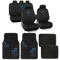 Blue Hearts Car Seat Covers & Carpet Floor Mats 13pc Interior Set