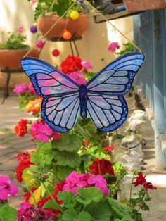 Window Or Wall Hanging Butterfly Suncatcher #Suncatcher #butterfly #Homedecor #windowdecor Do It Yourself Decorating, Sun Catcher, Blue Butterfly, Etsy Handmade, Diy Home Decor, Yoga, Suncatchers, Diy Room Decor, Homemade Home Decor