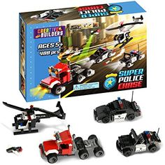 488 Pieces, Super Police Chase, Includes Police Car, Police Helicopter, Police Jeep, Flying Drone, and Criminal Semi Truck, Lego Compatible, by Creative Builders
