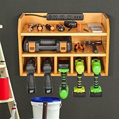 Power Tool Organizer, Sunix Power Tool Charging Station Drill Wall Holder Wall Mount Tools Garage Storage (Power Strip is Not Included) – Power Tools On Sale Tool Wall Storage, Overhead Storage Rack, Power Tool Storage, Garage Storage Racks, Diy Storage, Power Tools, Storage Ideas, Power Tool Organizer, Garage Organization