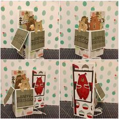 Jack the Bear Box Card created with Close To My Heart Jack Cardmaking bundle & Jack paper pack. www.maz.closetomyheart.com.au