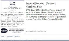 Death Notice for David Dare 2014