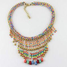 New Design Lady Multi Colours Rainbow Braid Bib Statement Necklace Tassel Drop | eBay