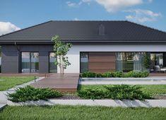 Projekt domu HomeKoncept-36 125,80 m² - koszt budowy - EXTRADOM Beautiful House Plans, Beautiful Homes, Flat Roof House, Rural House, Modern House Design, Kitchen Interior, Exterior Design, Garage Doors, Outdoor Decor