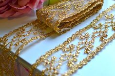 1 yard 3.5cm wide bright gold lace I Wedding lace trim I Lace trim I Gold lace trim I DIY lace trim I Festive lace trim I Vintage lace trim by SixthCraft on Etsy