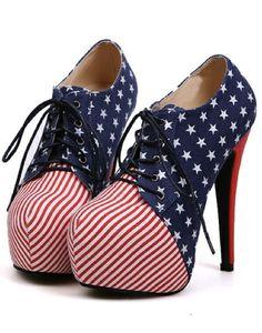 a3421ee02f2b Sexy Stars And Stripes Platform High Heel Shoes Hot High Heels