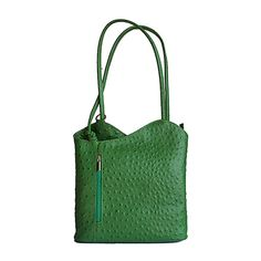 Multi-Way Green Ostrich Leather Shoulder Bag/Backpack - Italian Women, Lush Green, Backpack Bags, Leather Shoulder Bag, Backpacks, Luxury, Fashion, Moda, Fashion Styles