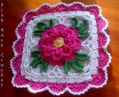 Crochet Rose Potholder - Wendy Schultz via Sharin Ware onto Crochet.