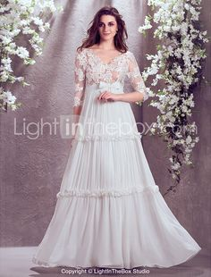 (A little too much boobage for me but I still love it) Sheath/Column V-neck Floor-length Georgette Wedding Dress (929900) - USD $ 199.99