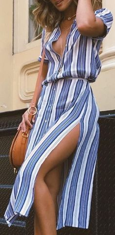 #summer #outfits / button down striped dress