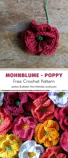 Mohnblume – Poppy Free Crochet Pattern These crochet flowers are so subtle and elegant! We love them in deep shades of burgundy red, honey-yellow, and pink. If you are looking for ideas on how. Crochet Fox, Diy Crochet, Crochet Crafts, Yarn Crafts, Crochet Projects, Crochet Ideas, Crochet Butterfly Free Pattern, Crochet Flower Tutorial, Crochet Flowers