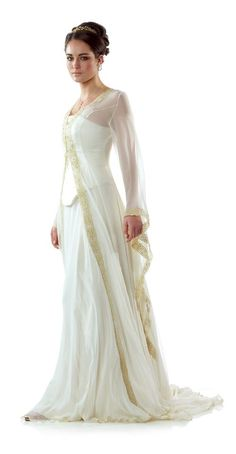 Celtic Wedding Dress from Lindsay Fleming - Tyra with Kilda Coat | See more about celtic wedding dresses, dress designs and celtic wedding.