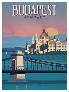 Vintage Travel Travel Poster from IdeaStorm Budapest Hungary - Size - Digital Print on 80 lb cover matte white *SHIPPING DETAILS* Items will be mailed out in tubes within 3 days after order. Poster Retro, Poster Poster, Hungary Travel, Tourism Poster, Photo Vintage, Vintage Ski, Vintage Music, Vintage Pink, French Vintage