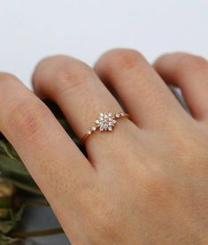 Rose gold engagement ring Diamond Cluster ring Unique engagement ring Delicate snow wedding Bridal s #diamondringsforwomenindian