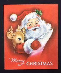 Vintage Christmas Card Ameri-card Santa Cute Reindeer Envelope | eBay