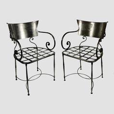 Pair of Vintage or Modern Italian Wrought Iron Openwork Armchairs www.rareelements.com