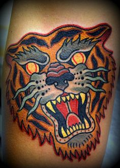 Zack Taylor at Evermore Tattoo Los Angeles #tigertattoo #traditional #tattoo #tiger #artist