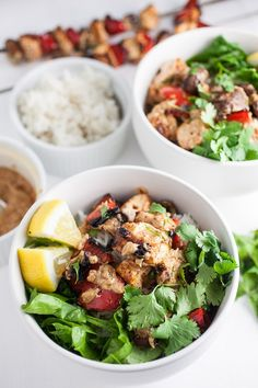 These Grilled Chicken Skewers with Thai Peanut Sauce are bursting with flavor! Marinated chicken kabobs and hearty vegetables are grilled to perfection and topped with a vibrant Thai peanut sauce. Healthy Salad Recipes, Healthy Breakfast Recipes, Healthy Chicken Recipes, Clean Eating Recipes, Lunch Recipes, Easy Dinner Recipes, Thai Recipes, Sauce Recipes, Dinner Ideas