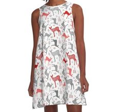 'pattern hand drawn lettering with deer winter christmas deer beautiful design po' A-Line Dress by Chris olivier Christmas Deer, Winter Christmas, Hand Drawn Lettering, Dress Patterns, Chiffon Tops, How To Draw Hands, Beautiful, Dresses, Design