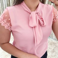 Umeko Lace Up Bow Tie Shirt 2019 Summer Short Sleeve Chiffon Casual Blouse Plus Size Office Lady Blusas Bow Tie Blouse, Bow Shorts, Tied Shirt, Chiffon Shirt, Plus Size Blouses, Lace Sleeves, Short Sleeves, Blouse Designs, Shirt Blouses