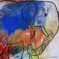 """Els Driesen, """"olifant 2"""" (129) Mit einem Klick auf 'Als Kunstkarte versenden' versenden Sie kostenlos dieses Werk Ihren Freunden und Bekannten."""
