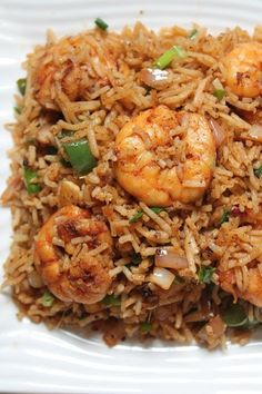 Prawn Fried Rice Recipe / Shrimp Fried Rice Recipe - Yummy Tummy Shrimp Dishes, Shrimp Recipes, Seafood Rice Recipe, Recipe Pasta, Seafood Pasta, Recipe Chicken, Recipes With Prawns, Cooked Prawn Recipes, Fried Rice Recipe Indian