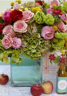 green + red + pink, hydrangeas, poppies, roses