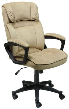Serta Microfiber Executive Office Chair – Light Beige – 43670 - Home Office Decoration Best Office Chair, Executive Office Chairs, Office Desk, Coworking Space, Verona, Tabletop, Ergonomic Office Chair, Cool Chairs, Home Office Furniture