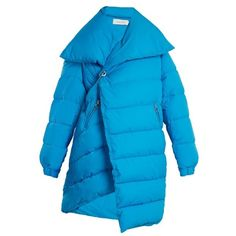 Marques'Almeida Asymmetric quilted-down coat ($580) ❤ liked on Polyvore featuring outerwear, coats, blue, quilted coat, blue down coat, down coat, quilted down coat and blue quilted coat