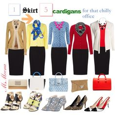 """""""1 Skirt 5 Cardigans for that chilly office"""" by msmeena on Polyvore #outfit #work #office #cardigan"""