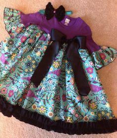 Purple Teal & Black TShirt Dress size 3T by HaleyLaine on Etsy, $28.00